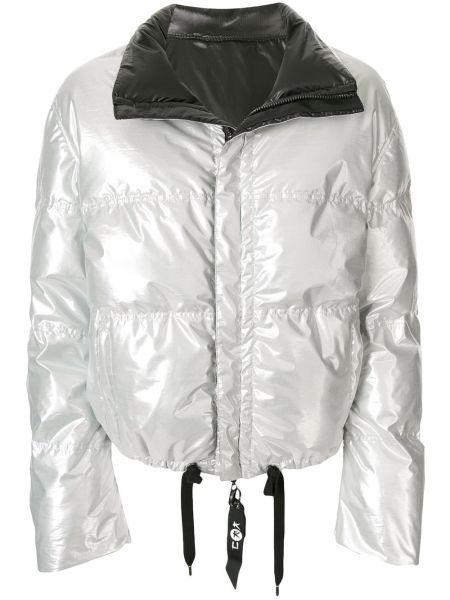 Серебряная куртка двусторонняя на молнии с воротником Kru