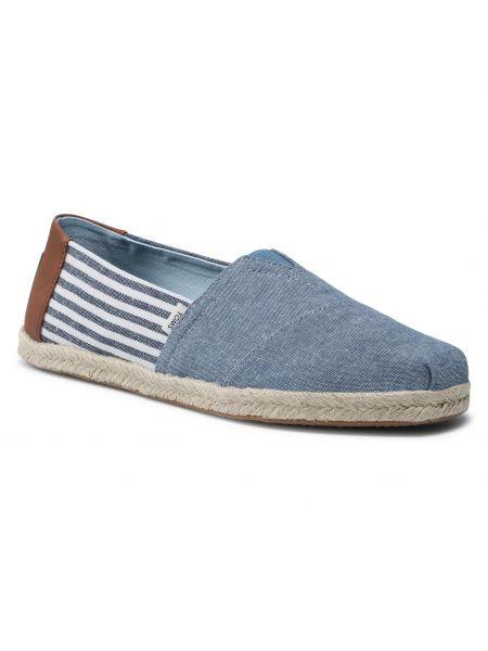 Espadryle w paski - niebieskie Toms