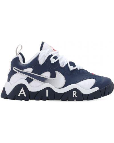 Синие кожаные кроссовки на шнуровке Nike