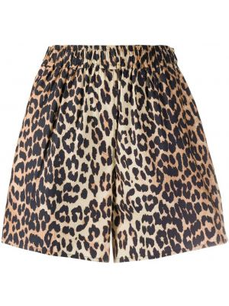 Короткие шорты с завышенной талией леопардовые Ganni