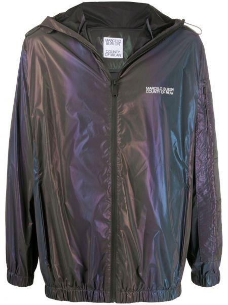 Czarna kurtka z długimi rękawami z printem Marcelo Burlon County Of Milan