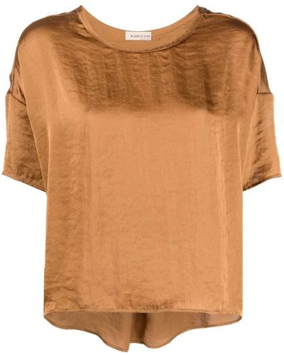Brązowa bluzka krótki rękaw asymetryczna Blanca Vita