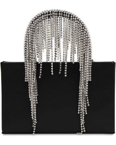 Czarna torebka na łańcuszku skórzana z frędzlami Kara
