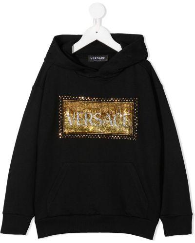 Czarna bluza z kapturem z długimi rękawami Young Versace