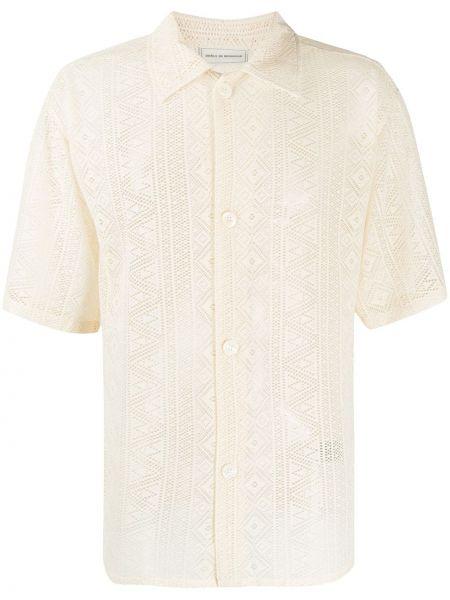 Beżowa koszula krótki rękaw sznurowana Drole De Monsieur