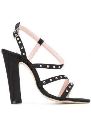 Открытые черные босоножки на высоком каблуке на каблуке с пряжкой Leandra Medine