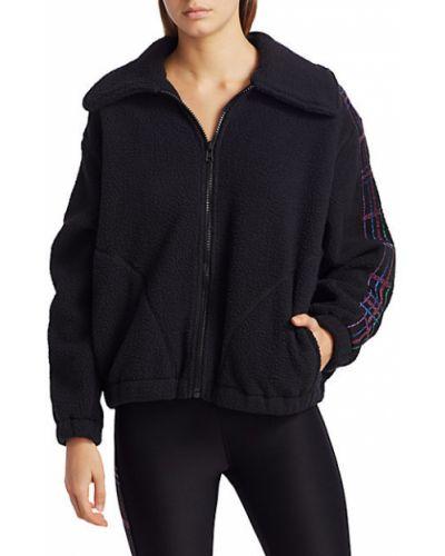 Флисовая черная длинная куртка на молнии Terez