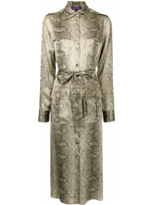 Biała sukienka długa z długimi rękawami Ralph Lauren Collection
