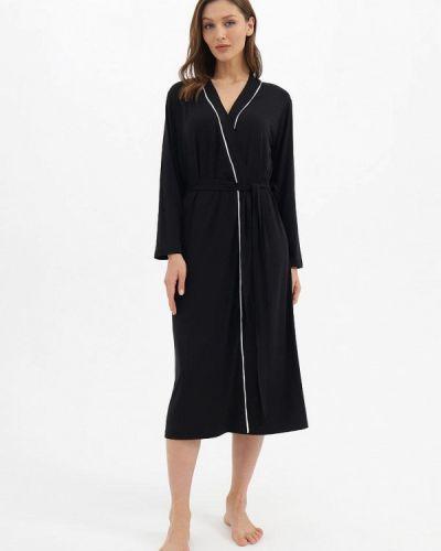 Трикотажный черный домашний халат Luisa Moretti