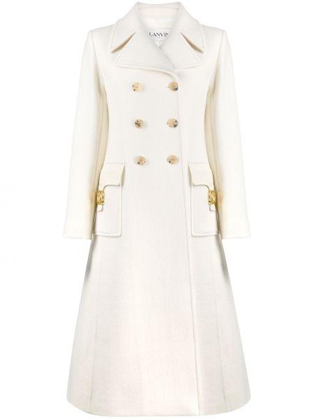 Белое кожаное длинное пальто двубортное Lanvin