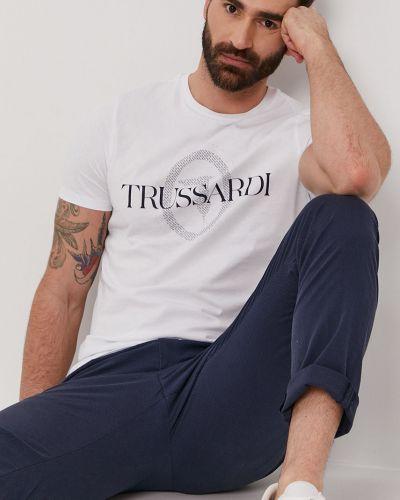 Biały t-shirt z printem bawełniany Trussardi Jeans