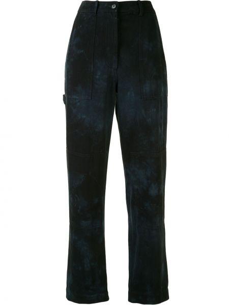 Синие брюки с карманами на пуговицах с высокой посадкой Raquel Allegra