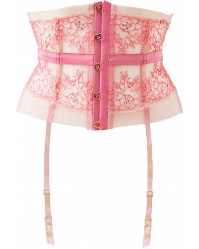 Розовые чулки с поясом Gossard