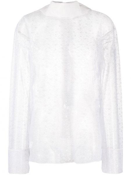 Прямая кружевная блузка с длинным рукавом с воротником с вышивкой Viktor & Rolf