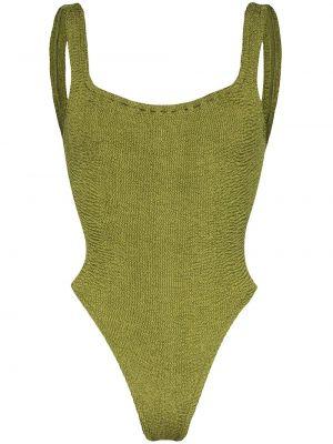 Нейлоновый зеленый слитный купальник Hunza G