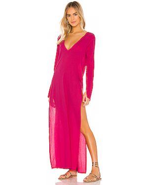 Хлопковое розовое платье макси с разрезами по бокам Blue Life