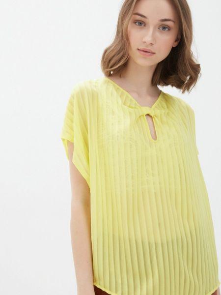 Желтая блузка с коротким рукавом Sisley