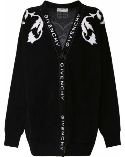 Prążkowany z kaszmiru czarny kardigan Givenchy