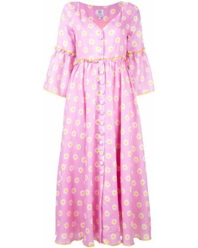 Розовое платье миди на молнии Gül Hürgel