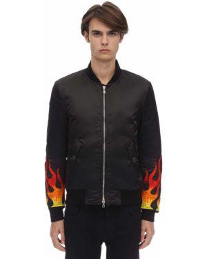 Prążkowana czarna kurtka z haftem Route Des Garden