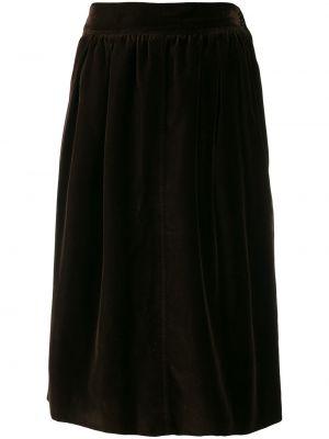 Brązowa spódnica mini z wysokim stanem bawełniana Yves Saint Laurent Pre-owned
