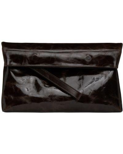 С ремешком кожаный черный клатч с тиснением Ann Demeulemeester