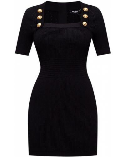 Czarna sukienka midi w paski z wiskozy Balmain