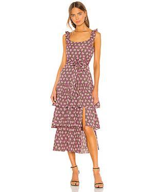 Розовое платье миди на молнии с оборками с подкладкой Likely