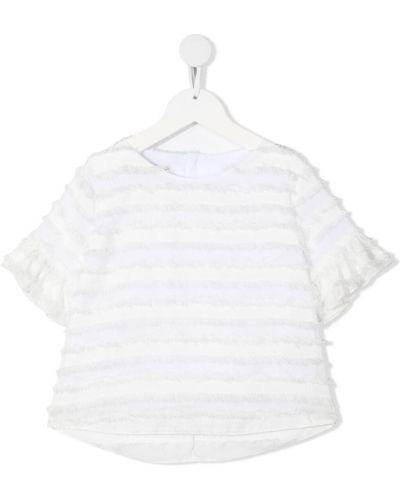 Белая блузка с короткими рукавами со вставками La Stupenderia
