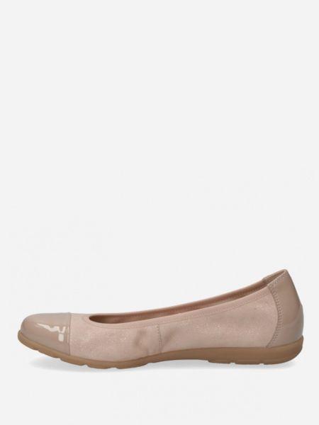 Бежевые кожаные балетки Caprice