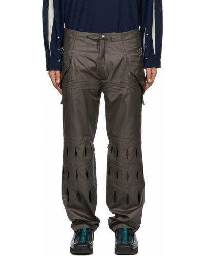 Czarne spodnie srebrne z haftem Kiko Kostadinov