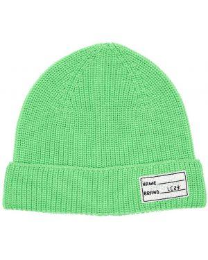 Prążkowany zielony czapka beanie wełniany Lc23