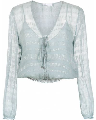 Блузка с длинным рукавом с люрексом прозрачная НК