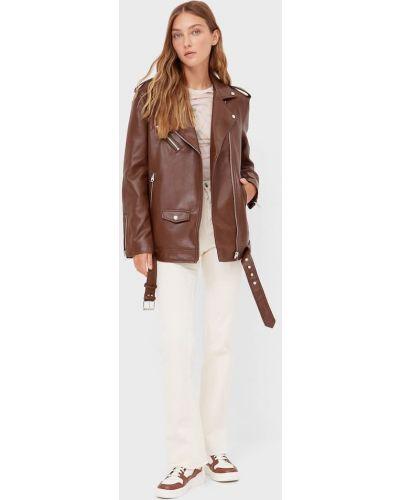 Коричневая куртка с поясом Stradivarius