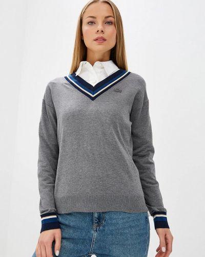 Серый пуловер Lacoste