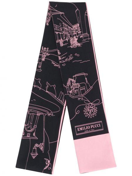 Облегченный черный шелковый платок Emilio Pucci