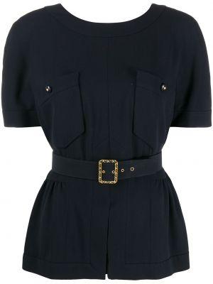 Шелковая блузка с поясом с вырезом на пуговицах Chanel Pre-owned