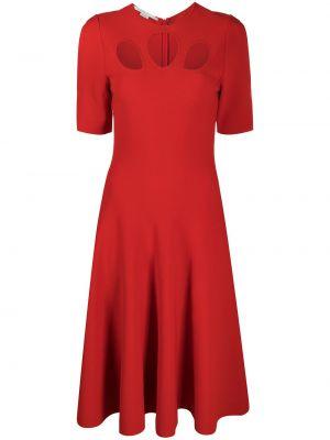 Платье миди с короткими рукавами - красное Stella Mccartney