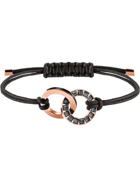 Черный браслет металлический с декоративной отделкой Swarovski