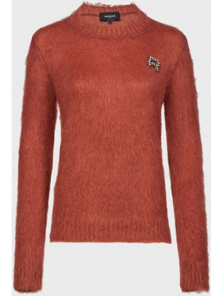 Красный шерстяной свитер с камнями Rochas