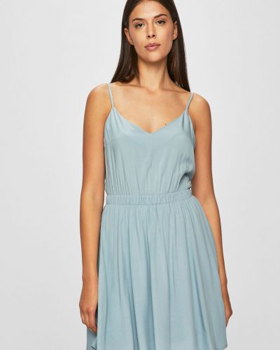 Платье с V-образным вырезом - синее Review