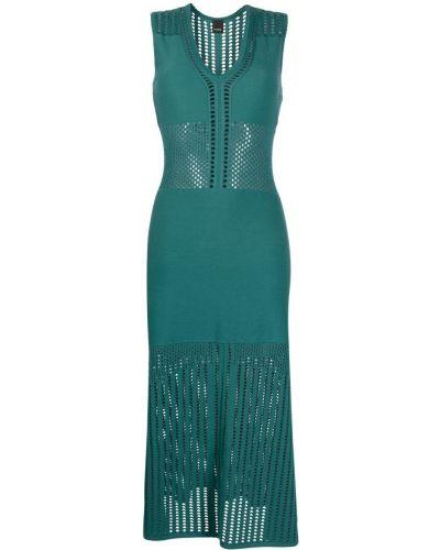 Открытое зеленое вязаное платье Pinko