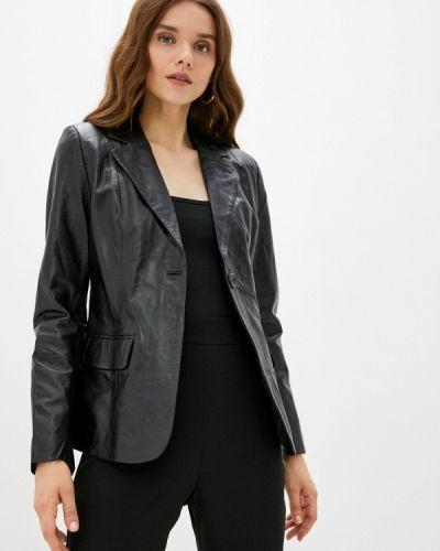Черная зимняя кожаная куртка Basics & More
