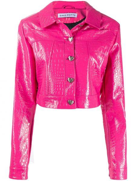 Розовая короткая куртка из искусственной кожи с воротником Saks Potts