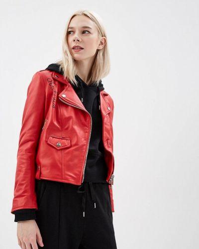 Кожаная куртка весенняя красная Imperial