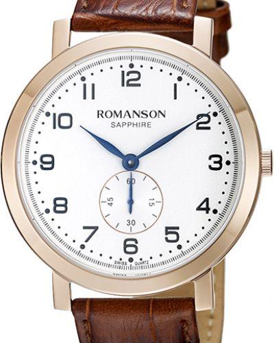 Часы водонепроницаемые с кожаным ремешком белые Romanson