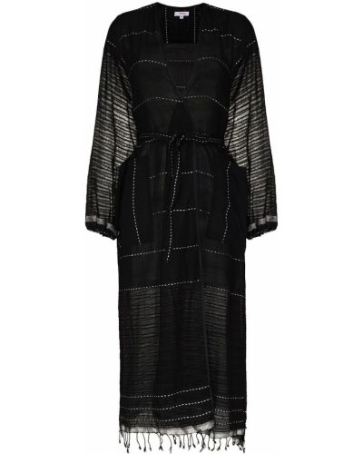 Черный хлопковый халат с запахом Lemlem