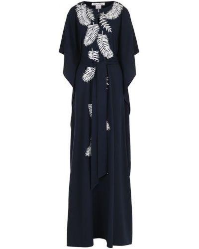 Платье макси с бисером в рубчик Oscar De La Renta