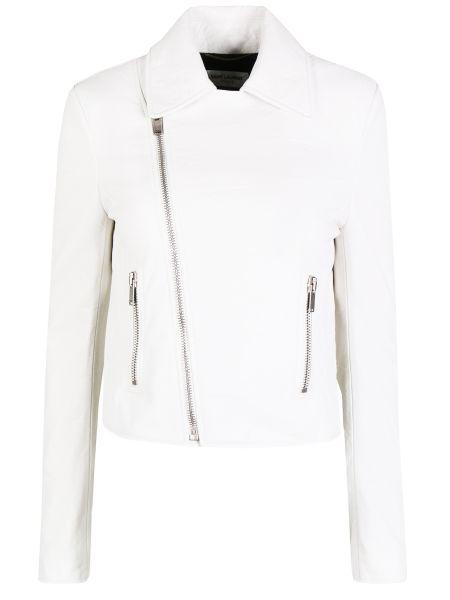 С рукавами белая кожаная куртка на молнии с воротником Saint Laurent