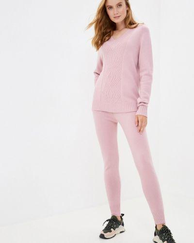 Костюмный розовый вязаный костюм Grand Style